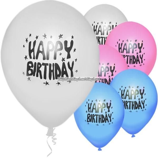 Flerfärgade Happy Birthday Ballonger