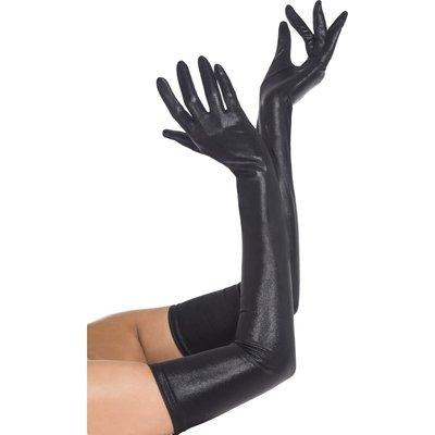 Handskar wet look långa - Svarta