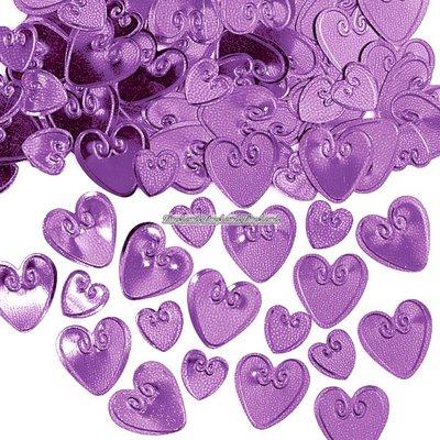 Bordskonfetti lila kärlekshjärtan - 14 g
