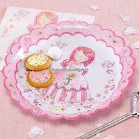 Rosa prinsessan rosa papperstallrikar 23 cm - 8 st