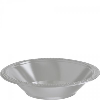 Silverfärgade djupa plasttallrikar 355 ml - 20 st