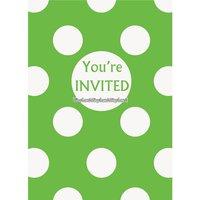 Gröna prickiga inbjudningskort - 8 st
