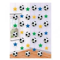 Fotbollsfeber festliga hängande dekorationer - 6 st