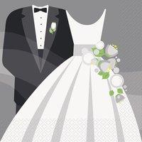 Servetter - Silvrigt bröllop 16 st