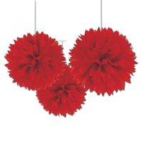 Röda pom pom dekorationer - 40cm - 3 st