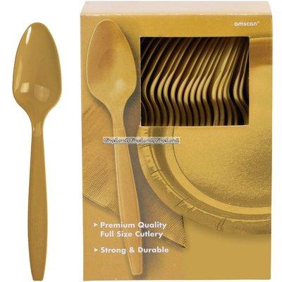 Guldfärgade plastskedar - 100 st