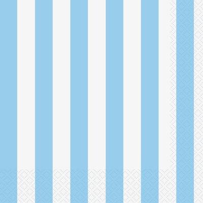 Randiga servetter - Ljusblå 16 st