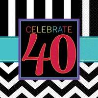 40-års födelsedag servetter 3-lagers - 16 st