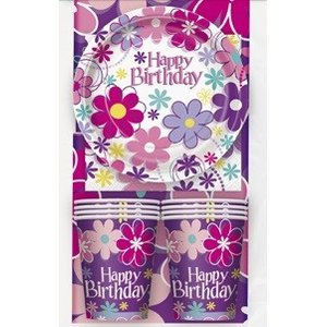 Dukningskit - Happy birthday blommor