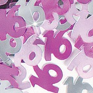 Bordskonfetti för 16-årsdagen rosa - 14g