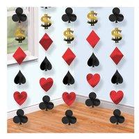 Casino dekorationer på snöre - 6 st