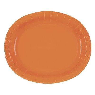 Orange ovala papperstallrikar - 30 cm 8 st