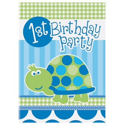 Inbjudningskort 1-årskalas - Sköldpadda - 8 st