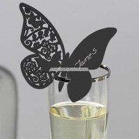 Fjärils- placeringskort till glas - svarta - 10 st