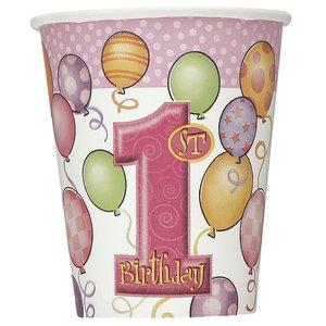 Pappersmuggar - Första födelsedagen rosa - 27 cl 8 st
