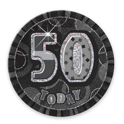 Svart 50-års födelsedagsknapp - 15 cm