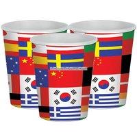 Pappersmuggar internationella flaggor 266 ml - 8 st