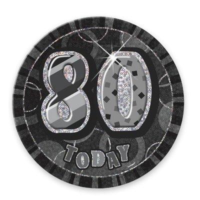 Svart 80-års födelsedagsknapp - 15 cm
