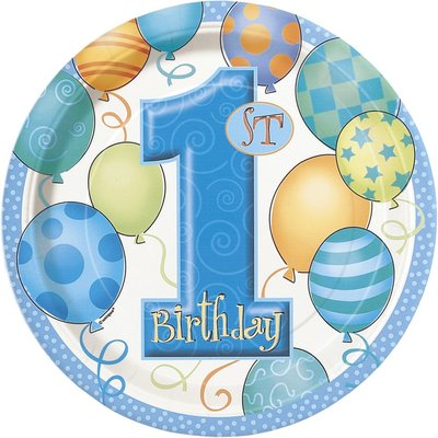 Första födelsedagen blå papperstallrikar