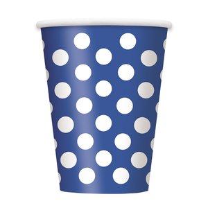 Blå prickiga pappersmuggar - 340 ml - 6 st