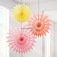 Sorbet solfjädrar dekorationer - 3 st