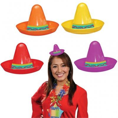 Fiesta Party små mexikanska Sombrero hattar i plast - 8 st