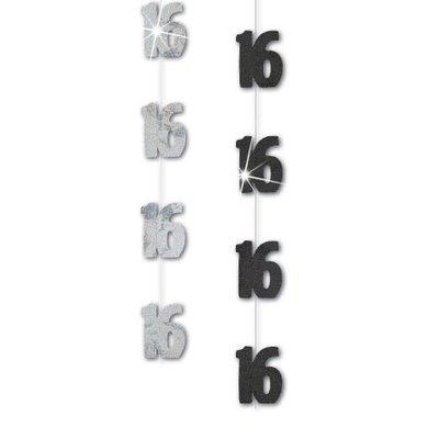 Hängande dekorationer till 16-årsdagen svart 1,5 m - 6 st