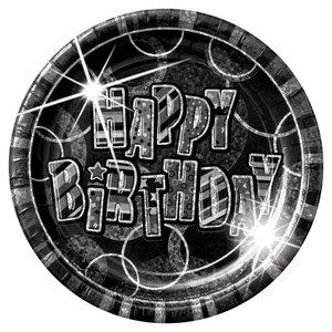 Happy birthday svarta papperstallrikar 22,8cm - 8 st