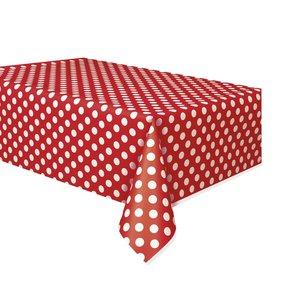 Röd prickig plastduk - 1.4m x 2.8m