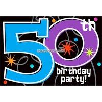 Inbjudningskort 50-årsfest - The party continues - 8 st