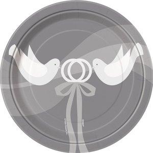 Assietter - Silvigt bröllop - 18 cm 8 st | Festartiklar//Dukning//Engångstallrikar//Papperstallrikar | Partyoutlet