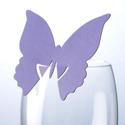 Lila fjärilsdekoration för glas - 10 st