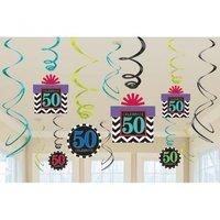 50-års födelsedag festdekoration hängande virvlar 60 cm - 12 st
