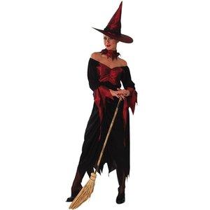 Häxa - maskeraddräkt röd-svart