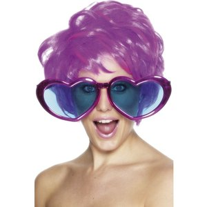 Jumbo hjärtformade glasögon, metallic, blandade färger