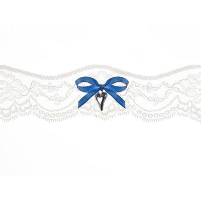 Bröllopsstrumpeband - Blått band med hjärta