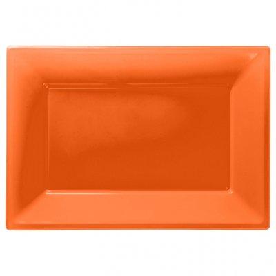Orange uppläggningsfat i plast - 3 st