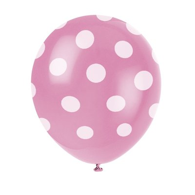 Rosa latexballonger med prickar - 30 cm 6 st