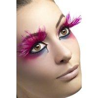 Ögonfransar, rosa, med ludd plymer, Innehåller Lim