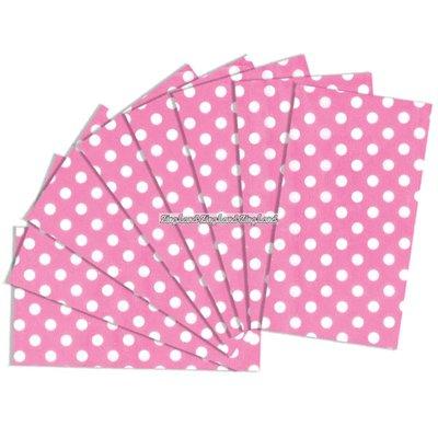 Rosa silkespapper med prickar - 8 ark