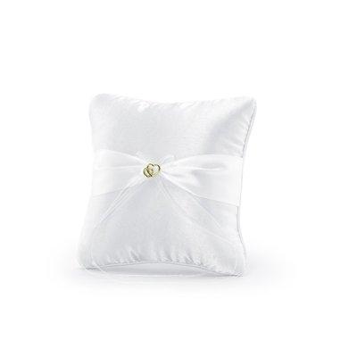 Kudde för vigselringar - Vit med guldhjärtan 20 cm