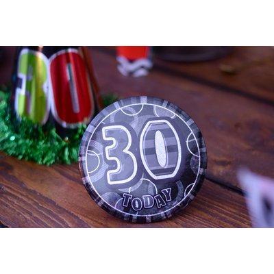 Svart 30-års födelsedagsknapp - 15 cm