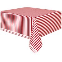 Randig bordsduk - Röd & vit