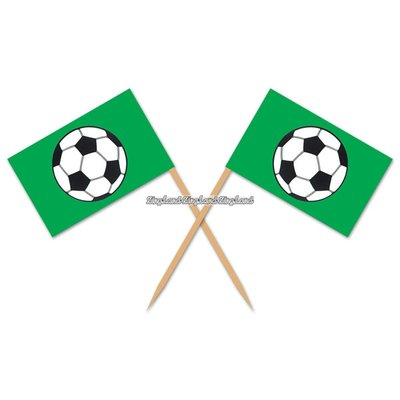 Flaggor med fotbollar - tårtdekoration 50 st