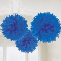 Kungsblå pom pom Dekorationer - 40cm - 3 st