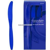 Mörkblå plastknivar - 100 st