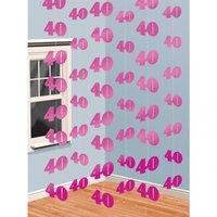 Rosa hängande festdekoration i snöre - till 40 årsdagen - 6 st