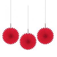 Röda hängande solfjäder dekorationer - 15.2cm - 5 st