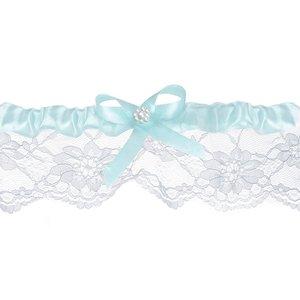 Bröllopsstrumpeband - Himmelsblå med vit pärla