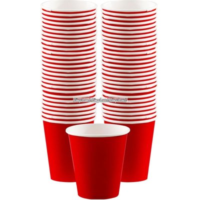 Röda kaffemuggar i papper 340 ml - 40 st